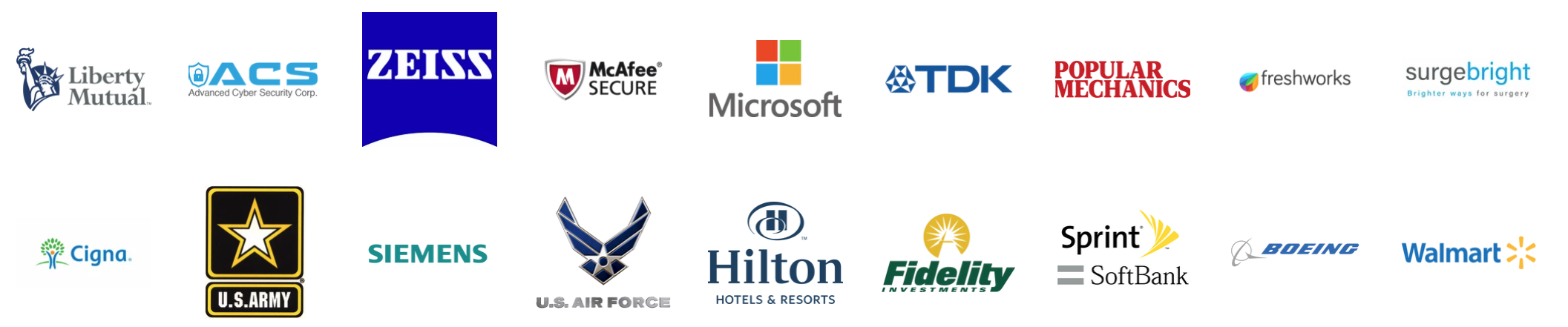 Recent work. Includes Liberty Mutual, ACS, Zeiss, McAfee Secure, Microsoft, Freshworks, Surgebright Medical, Cigna insurance, United States Army, U.S. Air Force, Hilton Hotels, Fidelity Investments. Sprint,SoftBank, Boeing, Walmart,